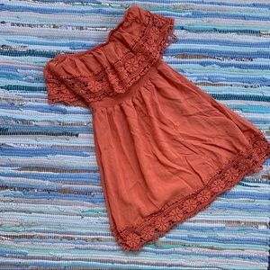 Burnt Orange Lace Trim Strapless Mini Dress